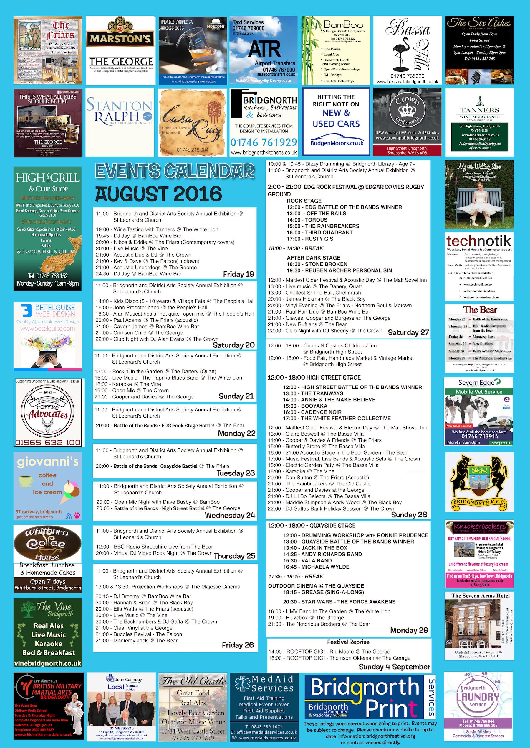 Festival Calendar for 2016 | Bridgnorth Music and Arts Festival